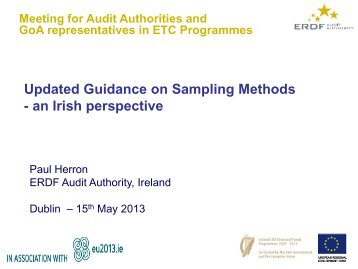 Revised Sampling Guidance | ERDF Audit Authority, Ireland - Interact