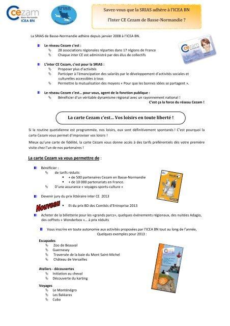 Carte Cezam Srias.Information Et Demande De Carte