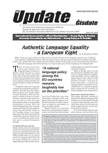 Ĝisdate 23, oktobro-decembro 2003 - Esperanto Association of Britain