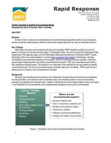 1 Facility Checklist to Identify Environmental Waste ... - PPRC