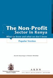 The Non-Profit Sector in Kenya - Aga Khan Development Network