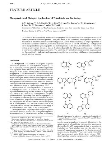 FEATURE ARTICLE - Department of Biochemistry, Biophysics and ...