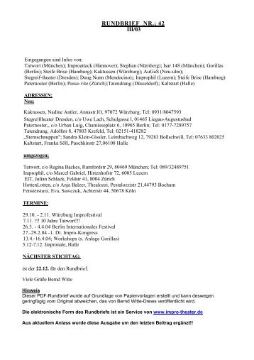 RUNDBRIEF NR.; 42 III/03 - Impro-Theater.de