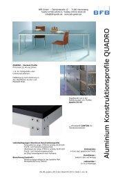 Profile QUADRO und CANTON für Tische, Bänke und ... - BFB GmbH