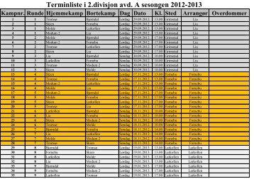 Terminliste for 2 divisjon avd.A