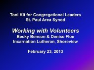 Working with Volunteers powerpoint - Saint Paul Area Synod