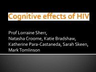 Cognitive effects of HIV