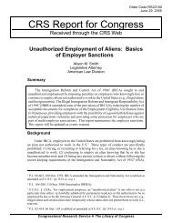 Unauthorized Employment of Aliens: Basics of Employer Sanctions