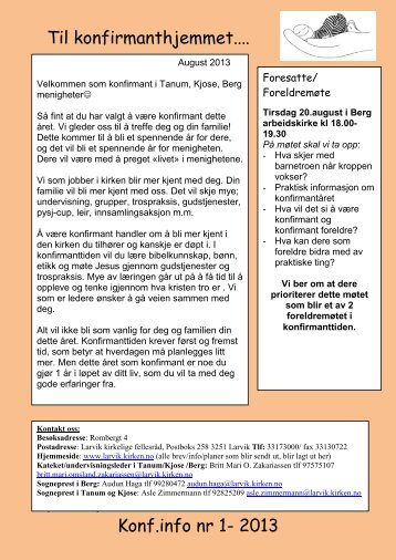 Informasjonsbrev nr 1 - Larvik kirkelige fellesråd