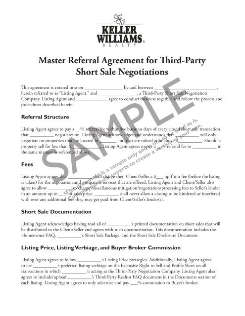 Master Referral Agreement For Third Party Short Sale Negotiations