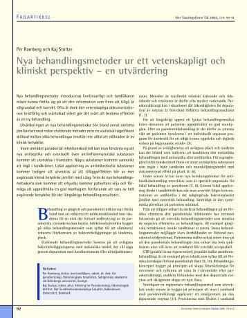 Nya behandlingsmetoder ur ett vetenskapligt och kliniskt perspektiv ...