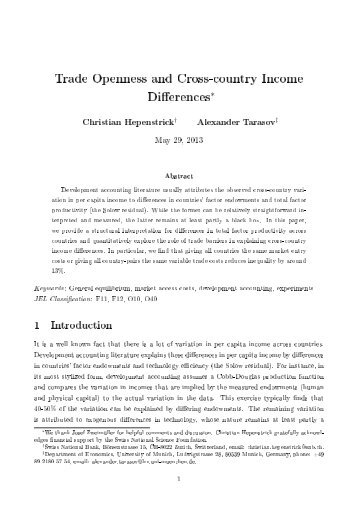 Trade Openness and Cross-country Income Differences