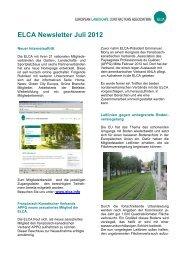 ELCA Newsletter Juli 2012