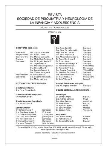 revista sociedad de psiquiatria y neurologia de la infancia y ...