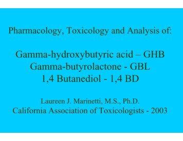 Gamma-hydroxybutyric acid – GHB Gamma-butyrolactone - GBL 1,4 ...