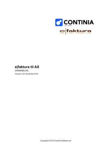 AX: ChangeLog - Continia