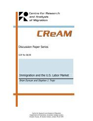Discussion Paper Series Immigration and the U.S. Labor Market