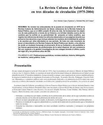 Revista Cubana Salud Pública Vol.31 1/05 - Instituto de Nutrición e ...