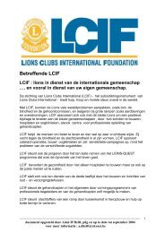 Betreffende LCIF - Lions Clubs International - MD 112 Belgium
