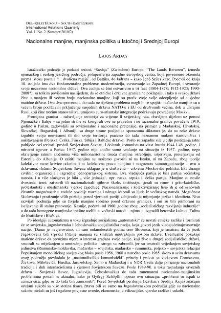 Nacionalne manjine, manjinska politika u Istočnoj i ... - Grotius