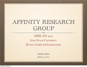 AFFINITY RESEARCH GROUP - Iowa State University