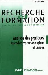 R&F Analyse des pratiques Approches psychosociologique et ...