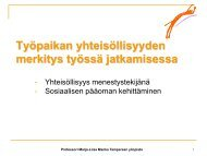 Työpaikan yhteisöllisyyden merkitys työssä ... - Kuntoutusportti