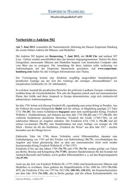 Vorbericht e-Auktion 502 - Emporium Hamburg