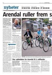 Arendal ruller frem som sykkelby, Agderposten 11.07.2011