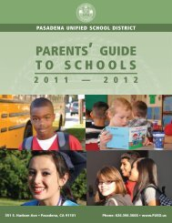 PARENTS' GUIDE TO SCHOOLS - Pasadena Unified School District