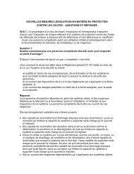 Nouvelles mesures législatives en matière de protection contre