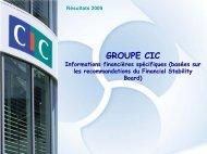 Résultats 2009 du CIC - informations spécifiques (basées sur les ...