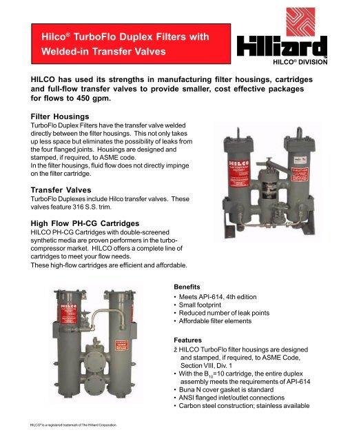 Hilliard Hilco TurboFlo Duplex Filters - Valin Corporation