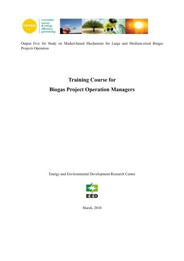 Training Course for Biogas Project Operation ... - REEEP Toolkits