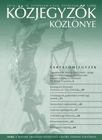 Közjegyzők közlönye 2010. 3. szám - Magyar Országos Közjegyzői ...