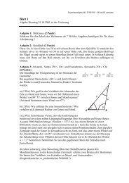 Übungen zur Vorlesung Experimentalphysik I