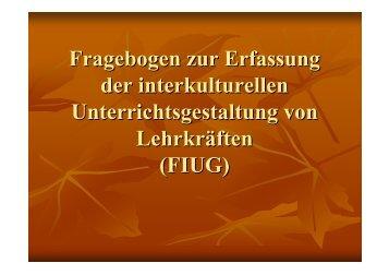 Fragebogen zur Erfassung der interkulturellen Unterrichtsgestaltung ...