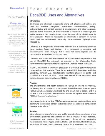 DecaBDE Uses and Alternatives - PPRC