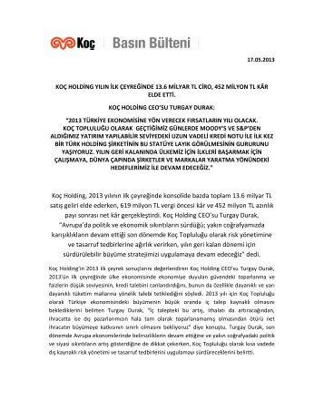Koç Holding, 2013 yılının ilk çeyreğinde konsolide ... - Koc Holding