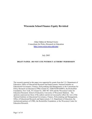 Wisconsin School Finance Equity - Consortium for Policy Research ...