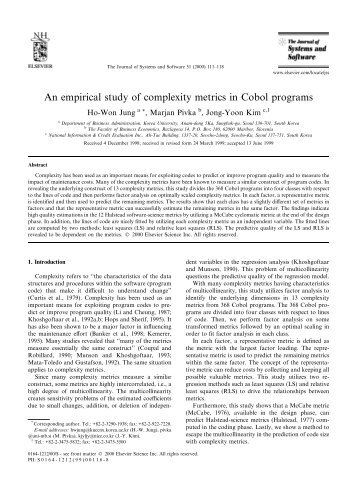 An empirical study of complexity metrics in Cobol programs