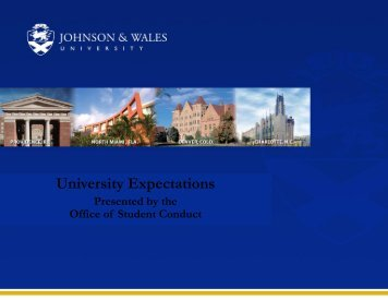 Student Conduct - Johnson & Wales University