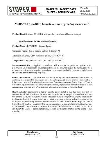 "MSDS ""APP modified bituminious waterproofing ... - Bitumex.com.tr"
