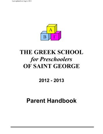 Greek Preschool Parent Handbook - Greek Orthodox Church of St ...