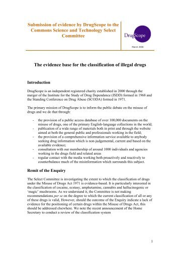 Submission of evidence by DrugScope to the Parliamentary ...