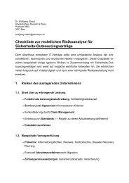 Checkliste zur rechtlichen Risikoanalyse für Sicherheits ... - ISSS