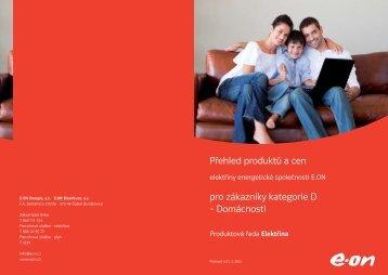 Přehled produktů a cen pro zákazníky kategorie D ... - E.ON