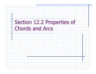 Section 12.2 Properties of Chords and Arcs