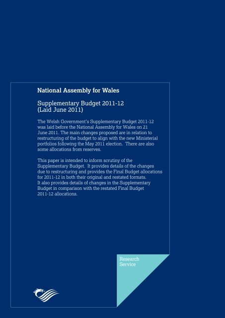 Supplementary Budget 2011-12 - National Assembly for Wales