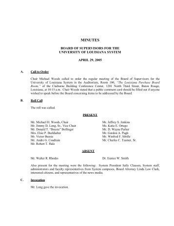 Board Minutes 4-29-05 - University of Louisiana System